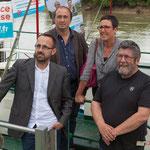 Photo pour la presse, Christophe Miqueu, Nathalie Chollon-Dulong, Vincent Joineau, Michel Hiaire. Péniche insoumise de la 12ème circonscription de Gironde. 7 juin 2017, Cadillac.