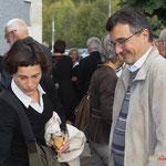 Sabine Boussange; Lionel Faye, Maire de Quinsac. Inauguration du gîte d'étape de Citon-Cénac. 01/10/2010