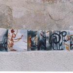 Carnet paravent encre et stick de peinture à l'huile. Couverture 12x12cm