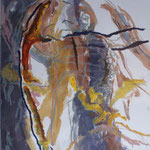 Aquarelle et stick de peinture à l'huile 50x65cm