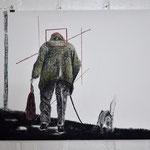 Alte Frau mit Quadrat und Huns /100 x 70 / Pastell / 014