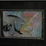 A4, abstrakt, gerahmt mit schwarzem Passepartout + dünnem schwarzem Metallrahmen