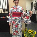 源氏物語ゆかた 高校生 マイサイズにお誂え仕立て 着付け教室にて ご自分でお着付けできるようになりました!