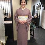 卒業式に小紋姿 笑顔の素敵な美雪ちゃん!