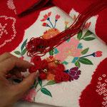 お宮参りの掛け着を三歳のお祝い着に加工いたします