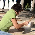 Fleißige Helfer beim Bau des Bauwagens 2008