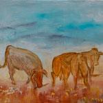 Kühe 50 cm x 40 cm | Acryl auf Leinwand | © Andrea Back