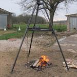 Zu Hause ist der Grill sofort aufgebaut und wird ausprobiert.