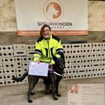Nellie van Heidas Erf (Fastor vd Molengors X Heibel vd s`-Gravenschans) Samen met Patricia het certificaat detectie speuren level 4 behaald