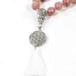Mala mit Jade, Rhodochrosit und Bergkristall Edelsteinen Anhänger Lebensblume