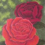 """""""Rote Rosen"""" - Zeichnung mit Künstlerfarbstiften (ca. 11 x 16 cm)"""