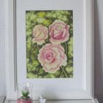 """""""Rosen"""" - Zeichnung mit Künstlerfarbstiften (DIN A 4)"""