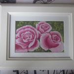 """""""Rosafarbene Rosen"""" - gerahmte Zeichnung mit Künstlerfarbstiften (ca. 13 x 18 cm) - Dieses Bild hat bereits ein neues Zuhause gefunden"""