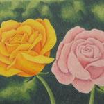 """""""Rosen"""" - Zeichnung mit Künstlerfarbstiften (ca. 15 x 21 cm)"""