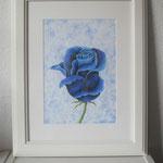 """""""Blaue Rose"""" - gerahmte Zeichnung mit Künstlerfarbstiften (DIN A 4) - Dieses Bild hat bereits ein neues Zuhause gefunden"""