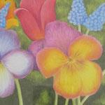"""""""Flowers"""" - Zeichnung mit Künstlerfarbstiften (ca. 12 x 17 cm) - Dieses Bild hat bereits ein neues Zuhause gefunden"""
