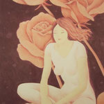 """""""Rose Fairy"""" - Zeichnung mit Künstlerfarbstiften (ca. 15 x 21 cm)"""