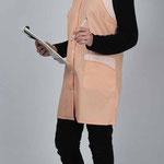 blouse Chloé - tissu professionnel saumon - empiècements assortis rayé saumon