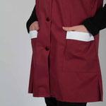 détail fentes sur côtés - blouse Valy tissu pro bordeaux