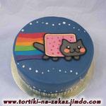 Nyan Cat Ванильный бисквит, йогуртовый крем с вишней. Мастика. 2,5кг