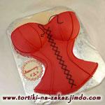Красный корсет со шнуровкой Медовик с заварным кремом. Мастика 3,3кг