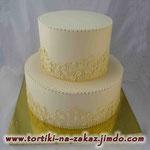 Свадебный: айвори, роспись Шоколадный и ванильный бисквиты, творожно-йогуртовый крем. Мастика 6,4кг