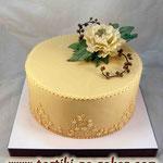 Свадебный: В ожидании осени Карамельный бисквит, сливочно-ванильный крем Мастика 4,4кг