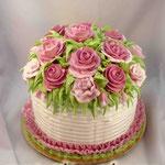 Корзина роз Шоколадный бисквит, суфле птичье молоко, фрукты. Белковый крем 3,3кг