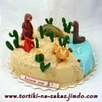 Динозавры в пустыне Монастырская изба с вишней и фундуком. Мастика 3,3кг