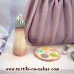 Сумочка–косметичка сиреневая Шоколадный бисквит, тафита Мастика 2,7кг