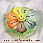 Цветик-семицветик Медовик с заварным кремом, чернослив, орешки. Белковый крем, мастика 2,6кг