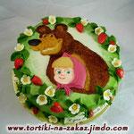 Маша и Медведь: клубничная полянка Шоколадный бисквит, безе, миндаль в карамели крем Шарлотт. Мастика, 3кг