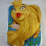 Золотая рыбка 2D Ванильный бисквит, сливочно-заварной крем, желе и фрукты Мастика 3,5кг