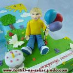 Единичка: мальчик с шариками Ванильный и шоколадный бисквиты, творожно-йогуртовый крем, фрукты. Мастика 3,2кг