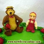Маша, Миша и земляника Шоколадно-банановый торт. Мастика 2,6кг