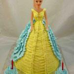 Барби желто-голубое платье Ванильный бисквит, йогуртовый крем, фрукты. Белковый крем 2,5кг