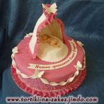 Колыбелька маленькой принцессы Ванильный бисквит, птичье молоко с персиками, прослойка вишневого желе с виноградом. Отделка – мастика. Вес 2,2кг