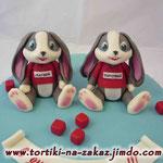 Два зайчонка Шоколадный бисквит, трюфельный крем, вишня. Мастика 2,7кг