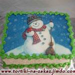 Снеговик (съедобная печать) Торт пломбир. Белковый крем, вафельная картинка 4кг