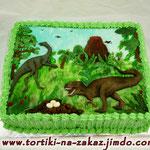 Динозавры (аппликация) Торт пломбир. Мастика, белковый крем 3,5кг