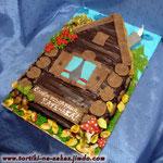 Сказочная избушка Монастырская изба с вишней и сметанным кремом. Шоколадный крем, мастика. 2,7кг