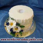 Белая свеча Шоколадный бисквит, сливочно-лимонный крем. Мастика