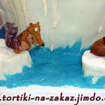 Ледниковый перид: континентальный дрейф Ванильный и шоколадный бисквиты, творожно-йогуртовый крем. Мастика 4,5кг