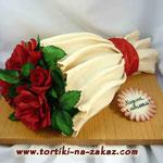 Букет красных роз Шоколадно-банановый торт. Мастика 3кг