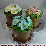 Цветочные горшки Торт-пломбир. Мастика.