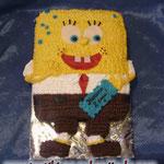 Спанч Боб 2  крем Ванильный бисквит, йогуртовый крем с фруктами. Отделка – шоколадный, белковый крем. Вес 1,6кг