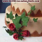 Искушение. Дикие розы. Ванильный бисквит с ликерной пропиткой, сливочно-заварной крем, безе, орехи. Мастика. 7кг