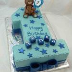 Единичка голубая: happy birthday Ванильный бисквит, безе, Шарлотт, фрукты. Мастика 3,4кг