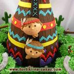 Два индейца, два веселых друга Шоколадный бисквит, сметано-заварной крем. Мастика, шоколадный крем 3кг + капкейки