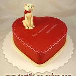 Сердце с кошечкой Медовик, заварной крем Мастика 2,6кг